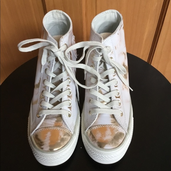 b6f8b926249d Converse Shoes - Converse Pink White Gold Wedge Sneakers